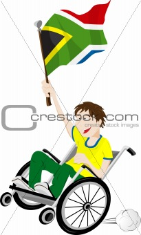 South Africa Sport Fan Supporter on Wheelchair with Flag