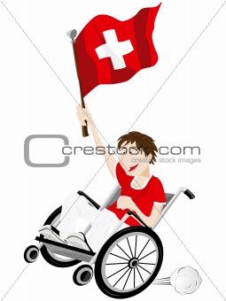 Switzerland Sport Fan Supporter on Wheelchair with Flag