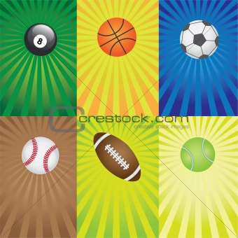 Set of balls for sport games.
