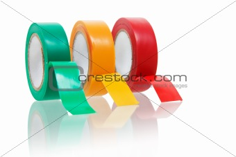 Three colors insulating tape isolated on white