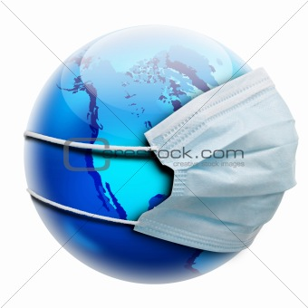abstract allegory concept with globe and flu mask