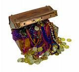 Pirate Treasure with Colorful Necklaces and Gold Coins