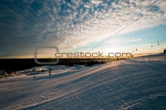 Ski resort at sunrise