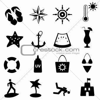 Beach, summer and nautical icons