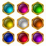 Buttons with gems, set, round