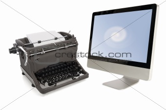 manual typewriter and modern computer
