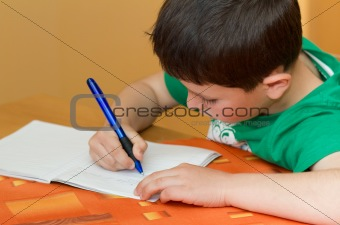 boy writting homework from school in workbook