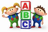 boy and girl with ABC blocks