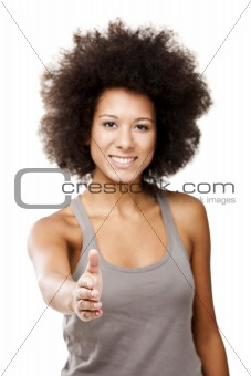 Beautiful Afro-American woman giving a handshake, isolated on white background