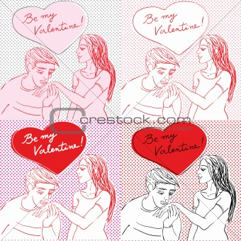 Valentine s Day pop art card set