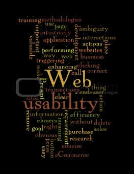 Web Usability word cloud isolated on black background.