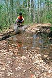 Boy mountain biking in forest
