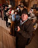 Saloon Patrons Pointing Guns