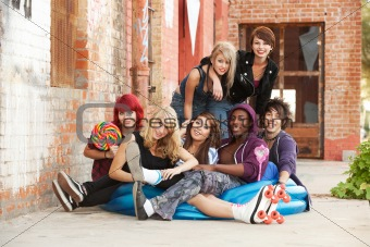 Young punk teens posing for a group shot