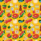  beach accessories seamless pattern