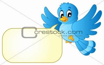 Blue bird with comics bubble