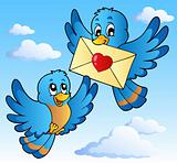 Two cute birds with love letter 1