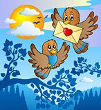 Two cute birds with love letter 2