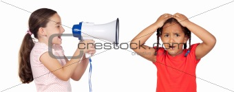 Little girl shouting through megaphone