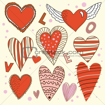 Cartoon design hearts set