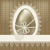 vector vintage easter greeting card with golden egg and lacy nap