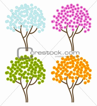 four season abstract trees