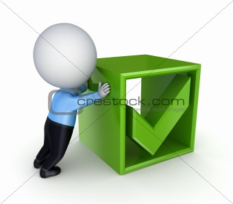 3d small person pushing a green tick mark.