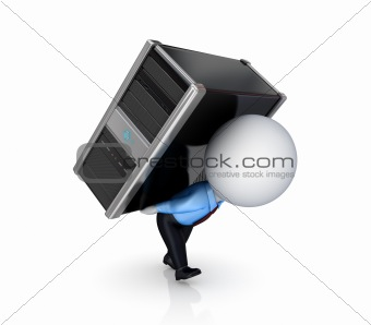 3d small person with a PC.