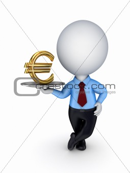 3d small person with a golden euro sign.