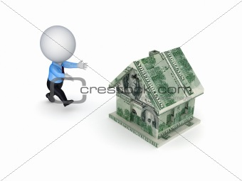3d small person running to a dollar house.