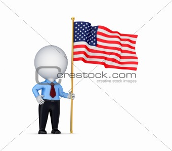 3d small person with american flag in a hand.