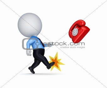 3d small person kicking a red vintage telephone.