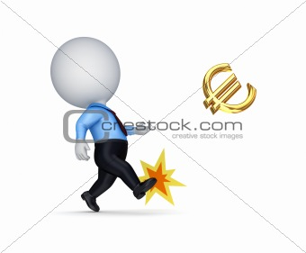 3d small person kicking a golden euro sign.