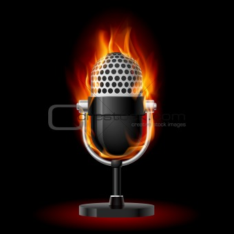 Old Microphone in Fire.