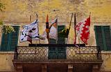 Flags on balcony