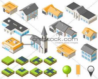 Suburban community isometric city kit