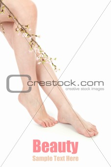 Beauty legs and flower