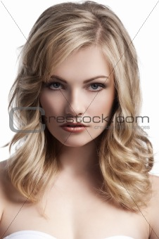blond young girl with stylish hair