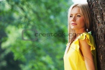 happy woman in forest