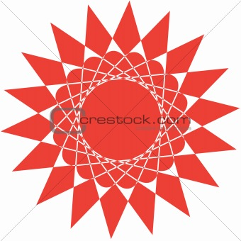 Abstract red sun isolated on white background