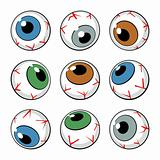 Set of eyeballs on white background