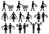 shopping people, vector icon set