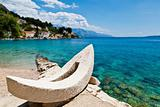 White Boat and Azure Adriatic Bay in Croatia