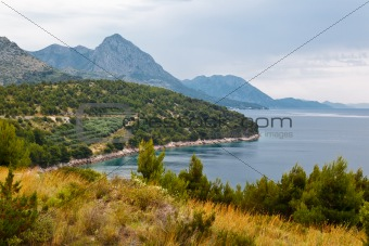 Adriatic Sea and Mountains in Croatia