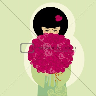 Japanese girl with flowers