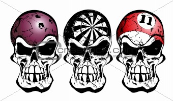 bowling, darts and billiard skulls