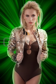 fashion girl with shining sequins jacket
