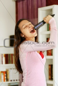 Teenage girl singing