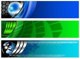 Three Technological Banner blue and green