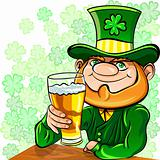 Vector St. Patrick's Day leprechaun drinks beer